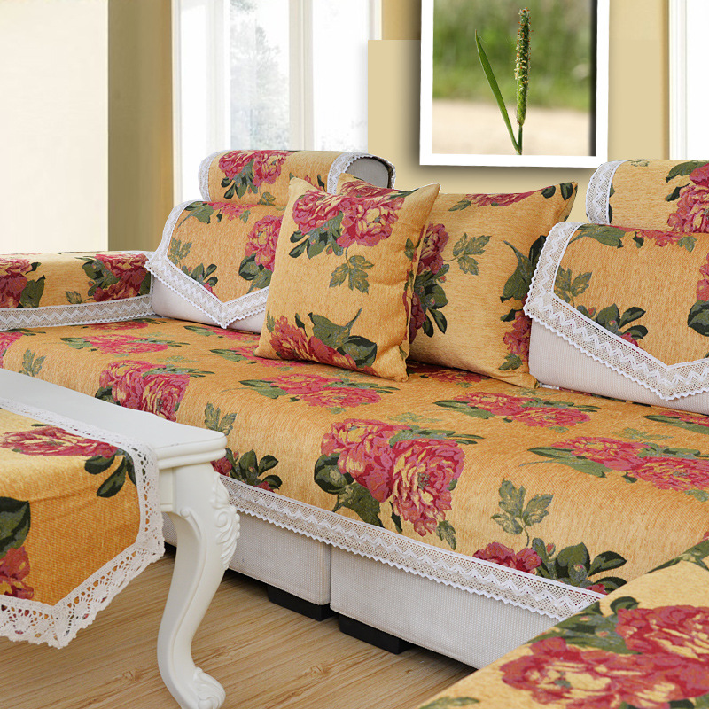 Chenille Jacquard Flocked Fabric Yellow Sofa Cover Corner Couch Slipcover Sectional Slip Mat Set Seat Cushion For In From Home