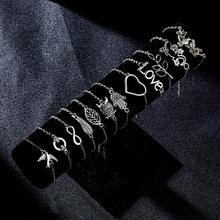 Бесконечность 8 Шарм Браслеты простые серебряные ювелирные изделия с бриллиантами Подарок Лист Любовь Сердце Сова животное Свадебные ювелирные изделия 12 стилей