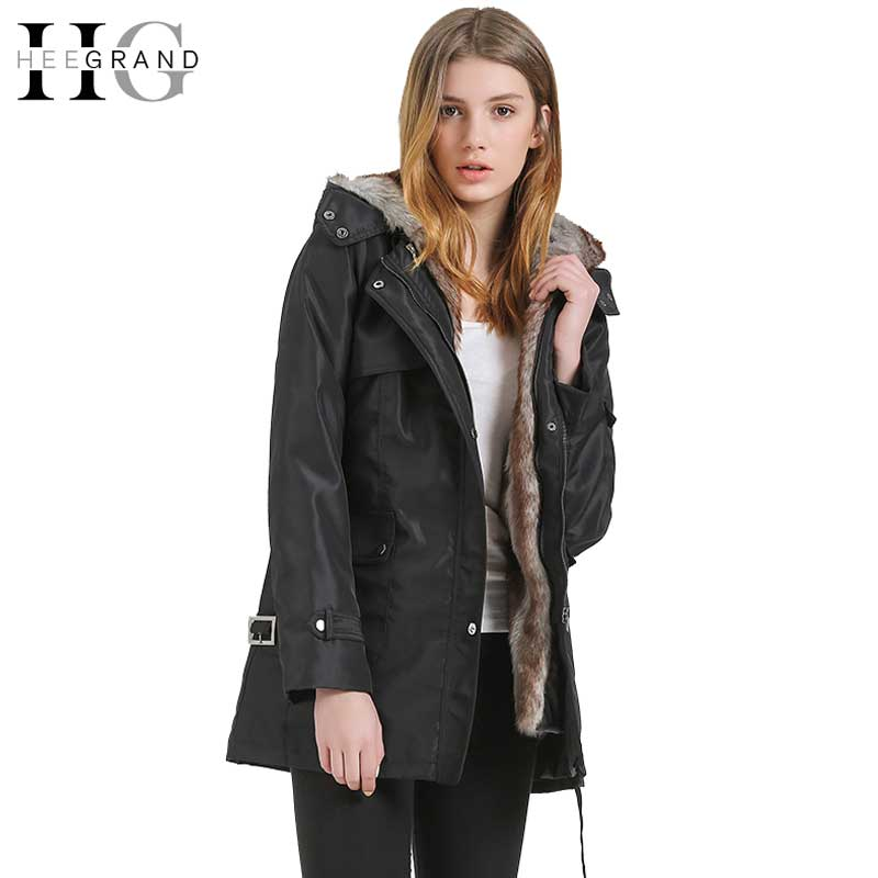 ФОТО HEE GRAND 2017 Women Winter Coats And Jackets Plus Size 3XL High Waist Faux Fur Woman Parka Coat  Oversized Basic Jacket WWM056