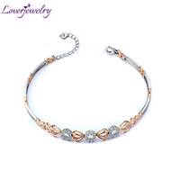New Solid 18kt Two Tone Gold Natural Diamond Engagement Bracelet NA0033
