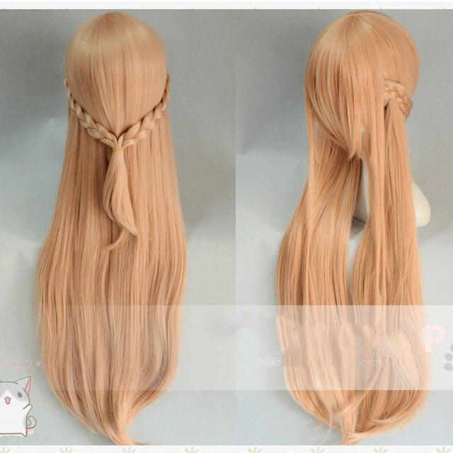 Anime Sword Art Online Yuuki Asuna długa peruka przebranie na karnawał SAO Yuki Asuna kobiety syntetyczne włosy impreza z okazji Halloween do odgrywania ról peruki
