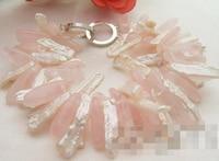 free shipping 01501 White Biwa Pearl&Pink Quartz Bracelet