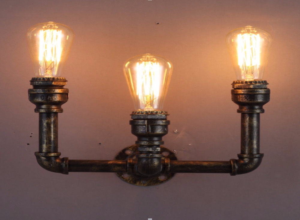 3 Heads Wall Lamp American Village Loft Industrial Edison Style Vintage E26 E27 Light Lamp Retro Water Pipe Lamp Wall Sconce 1 heads american industrial vintage loft style creative personality iron water pipe restaurant retro wall lamp free shipping
