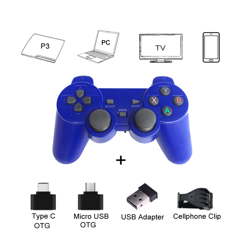 Wireless Gamepad For Android Phone/PC/PS3/TV Box Joystick 2.4G Joypad Game Controller For Xiaomi Smart Phone Game Accessories gasky mini wireless gamepad pc for ps3 tv box joystick 2 4g joypad game controller remote for xiaomi android pc win 7 8 10