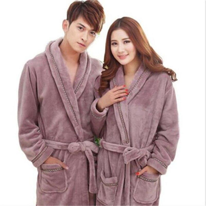 2017 New Autumn Winter Women Thick Cotton Flannel Pajamas Couples Bathrobe Coral fleece Warm Sleepwear Lovers Bath Robes AB039