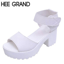 HEE GRAND New Summer Pep-toe Woman Sandals,Platform Thick Heel Summer Women Shoes Hook & Loop All Match Shoes For Ladies 835