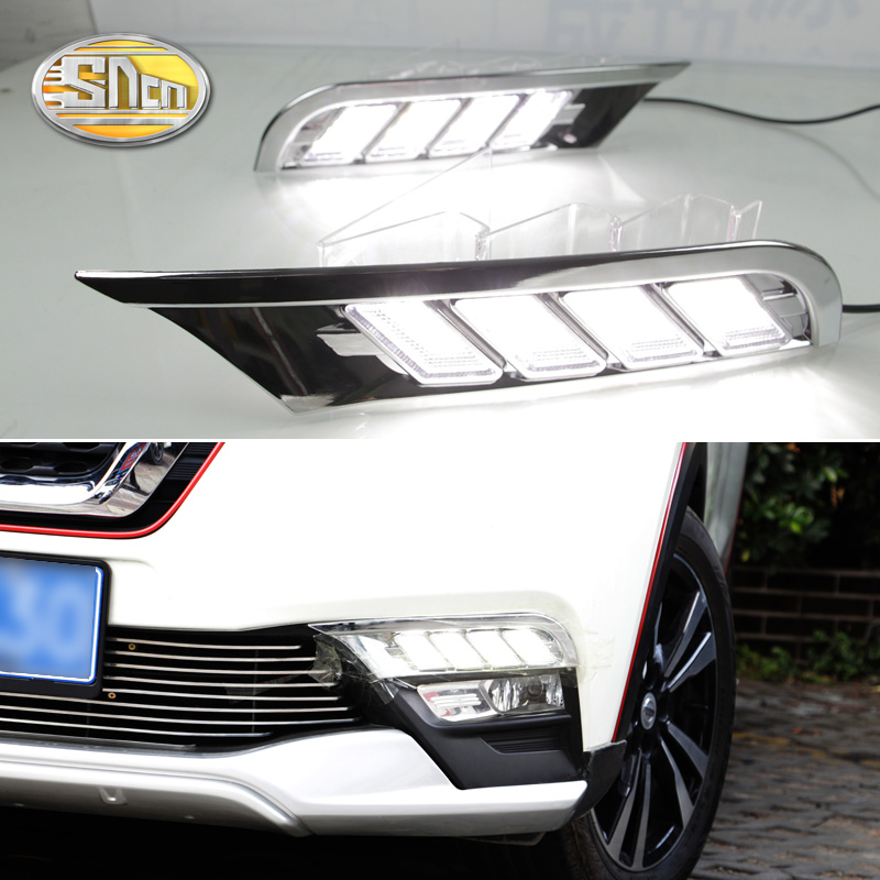 цена на SNCN 2PCS LED Daytime Running Light For Nissan Kicks 2017 2018 Turning Yellow Signal Relay Waterproof Car 12V LED DRL