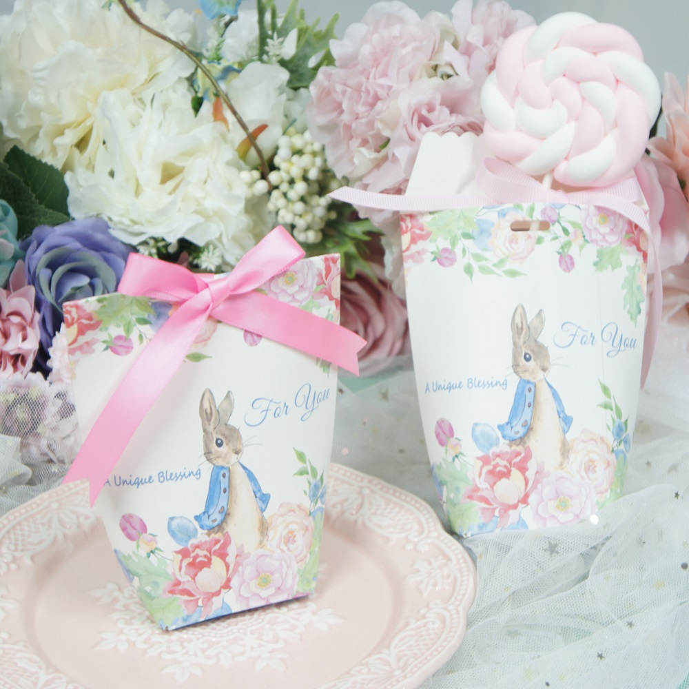 10 pcs cute rabbit candy gift paper box pillow shape For Storage ...