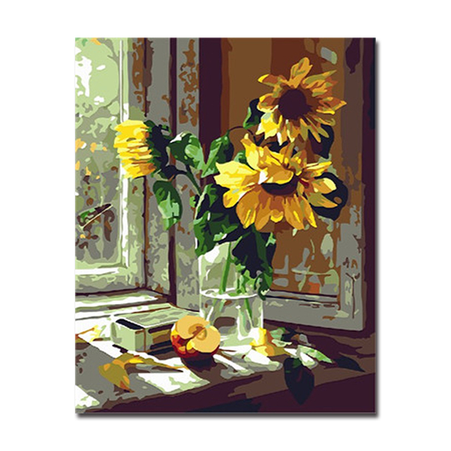 Diy Oil Painting By Numbers Handpainted Window Sunflower Modern Canvas Pictures Coloring Home Bedroom Decor Wall