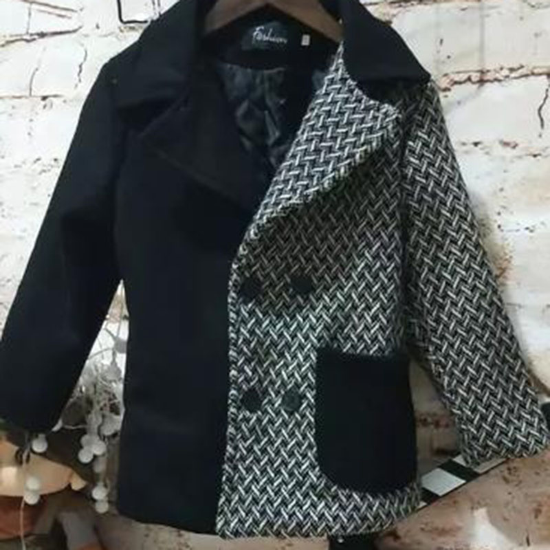 Wool jacket boys and girls fashion double-breasted stitching children's woolen coat in the long windbreaker autumn and winter недорго, оригинальная цена