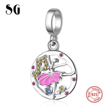 SG new arrival Dancer girl charms pendant chain necklace beads 925 sterling silver diy fashion jewelry making for women gift