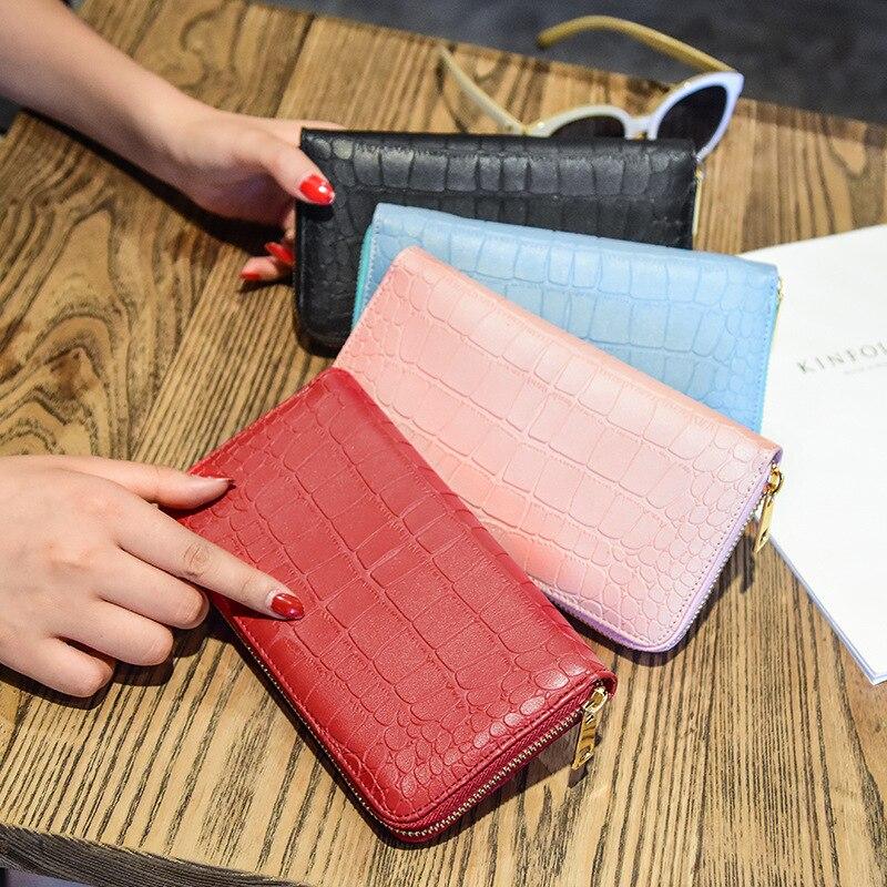 Men Wallets Women Purse Zipper Crocodile Alligator Pattern Female Long Wallets Coin Handbags with Credit Card Holder KZ18102