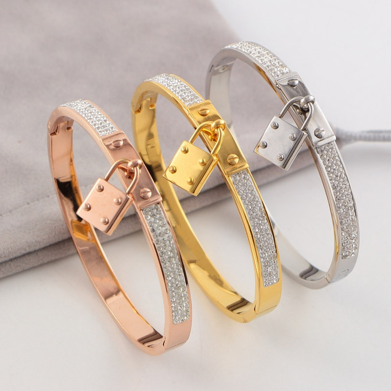 Hot sell stainless steel Classic Brand lock Bracelets & Bangles high quality love H bracelet for women Pulseiras Feminina hot sell middle east brand titanium steel leopard bracelet bangle for women double wire full drill bangles bracelet top quality