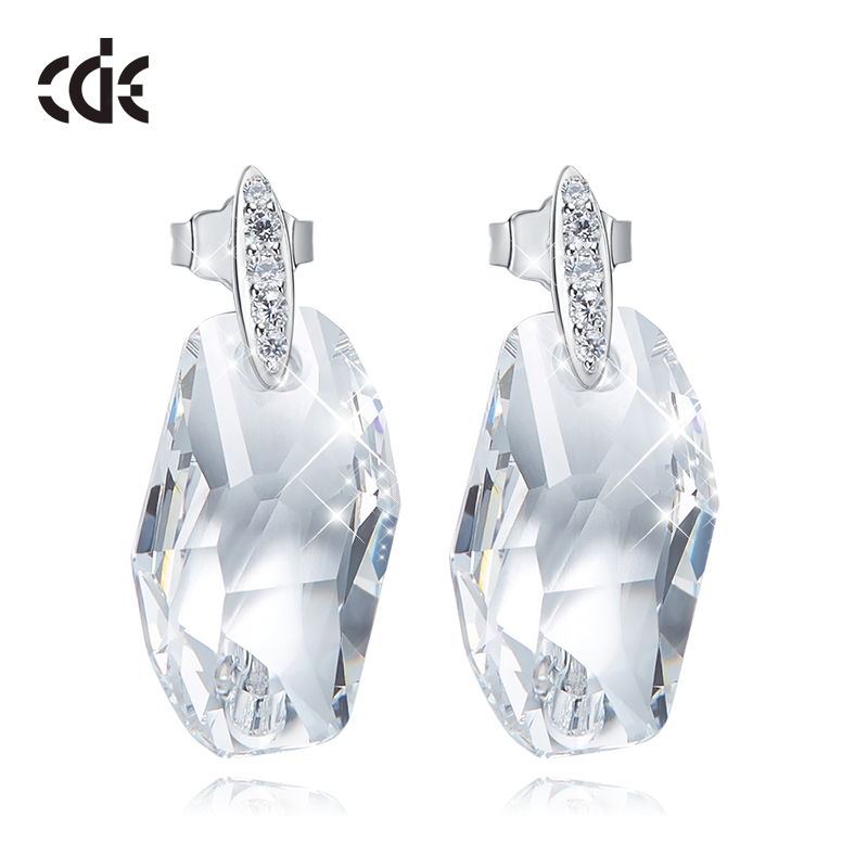 CDE 925 Sterling Silver Earrings Embellished With Crystals From Swarovski Stud Geometry Earrings Women Earrings Ear Jewelry Gift(China)