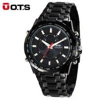 OTS 2018 Luxury Brand Watch Men Business Casual Wristwatch Full Steel Military Sport Relogios Masculinos Digital