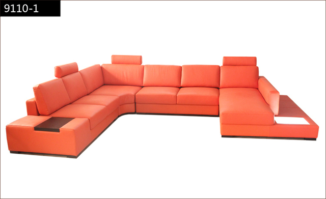 Free Shipping Modern Euro Design Sofa Large Size U Shaped Couches With Light Coffee Table