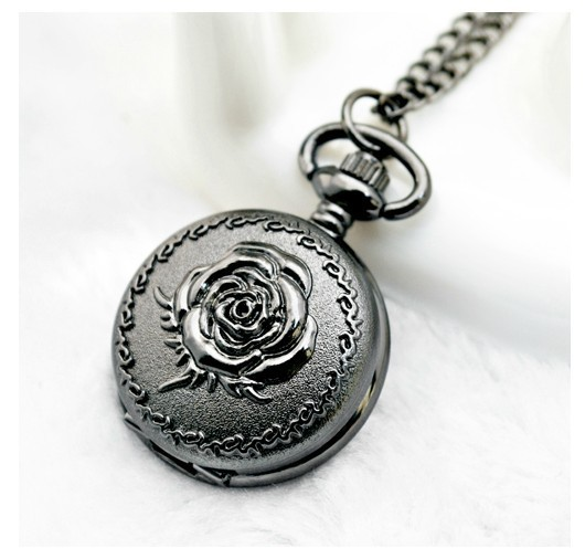 Fashion Cute Small Size Black Rose Quartz Men Women Pocket Watch With Chain For