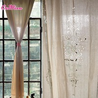 2pcs Customize Tab Top Curtain French Country Cotton Linen Crochet Lace Panel Drape For Living Room