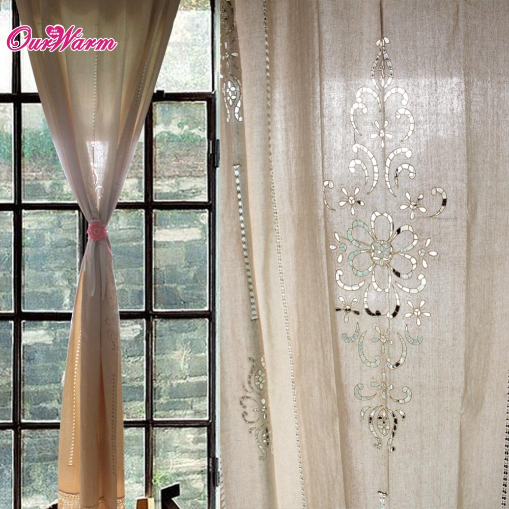 2pcs Customize Tab Top Curtain French Country Cotton Linen