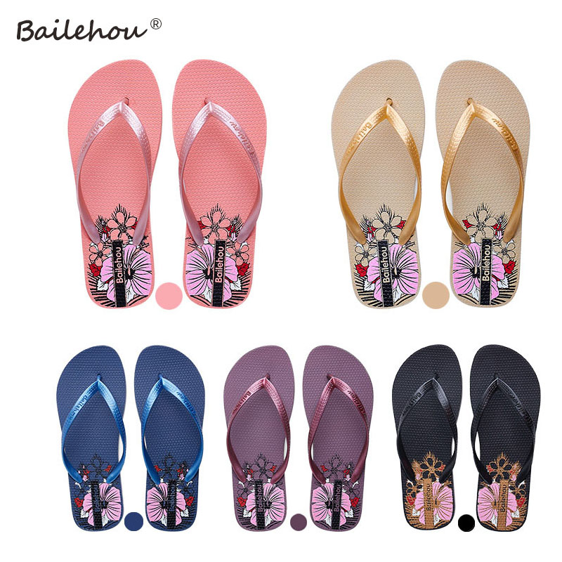 Bailehou Women Flip Flops Shoes Slippers Fashion Designer Beach Ladies 2017 Summer Outside Sandals Mujer Flats Slides bees slippers women g designer flats sandals bees logo fashion women beach summer slippers flip flops