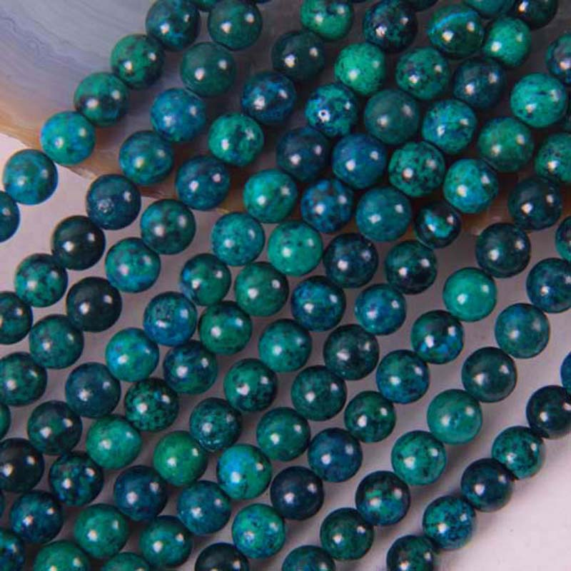 6MM Brazilian Azurite Round Loose Beads 16 Inch Jewelry Making  B248