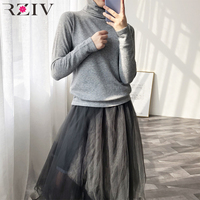 RZIV Spring Women's Sweater Casual Solid Color Turtleneck Long Sleeve Slim Sweater