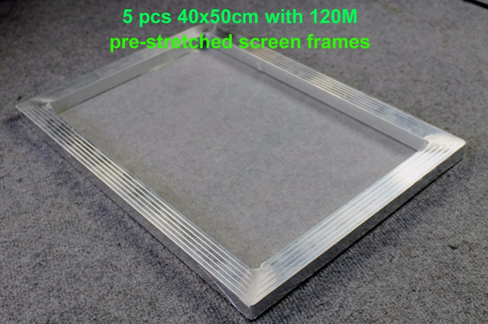 Фото Fast Free shipping 5pcs inner size 40x50cm with 48T/120M Aluminum Stretched Screen Frames Silk Screen Printing Tools Materials