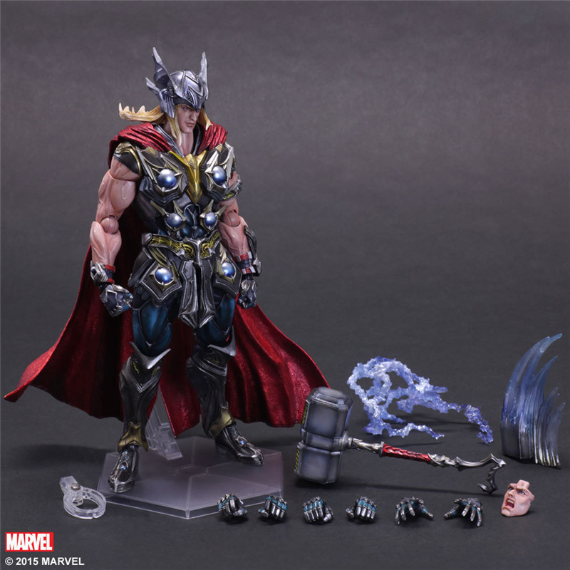 Elsadou Play Arts PA Marvel Super Hero Thor Action Figure Toy Doll Collection 25cm saintgi iron man avengers generation action figures hot toys super hero collection model toy gift pa change play arts marvel