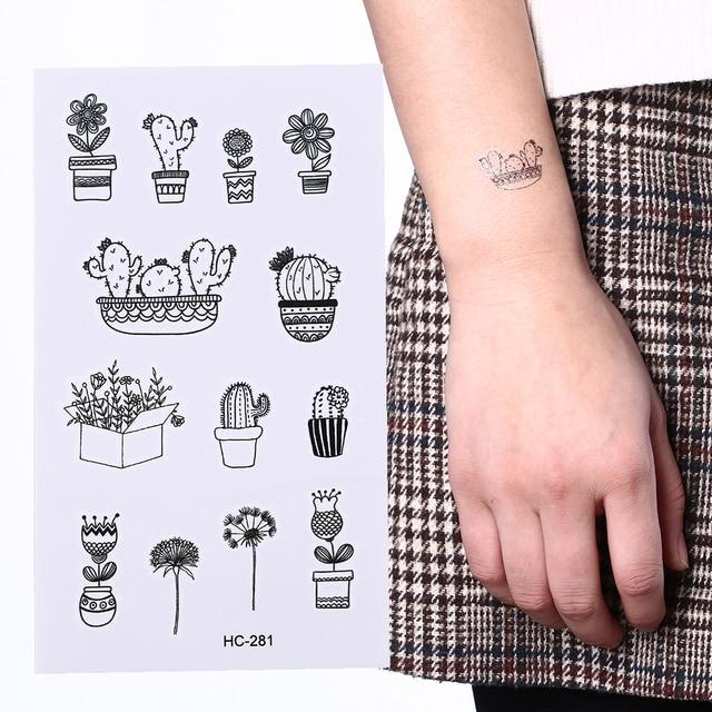 Tatuaje Cactus 1 hoja cactus hombres tatuaje impermeable tatuaje temporal pegatinas