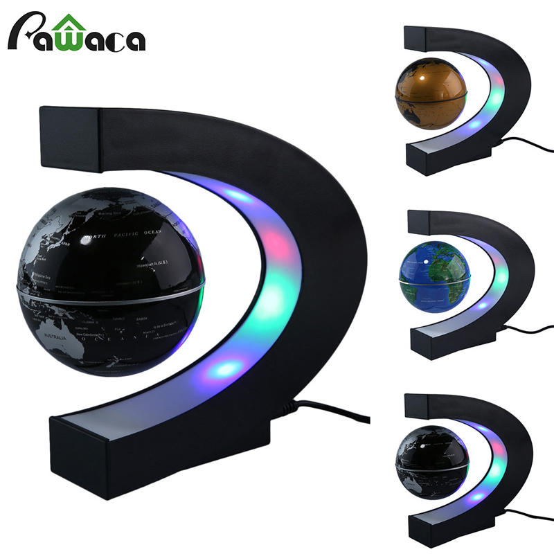 Electronic Magnetic Levitation Floating Globe World Map With LED Light Christmas Birthday Gift Home Office Decor Desk Decoration
