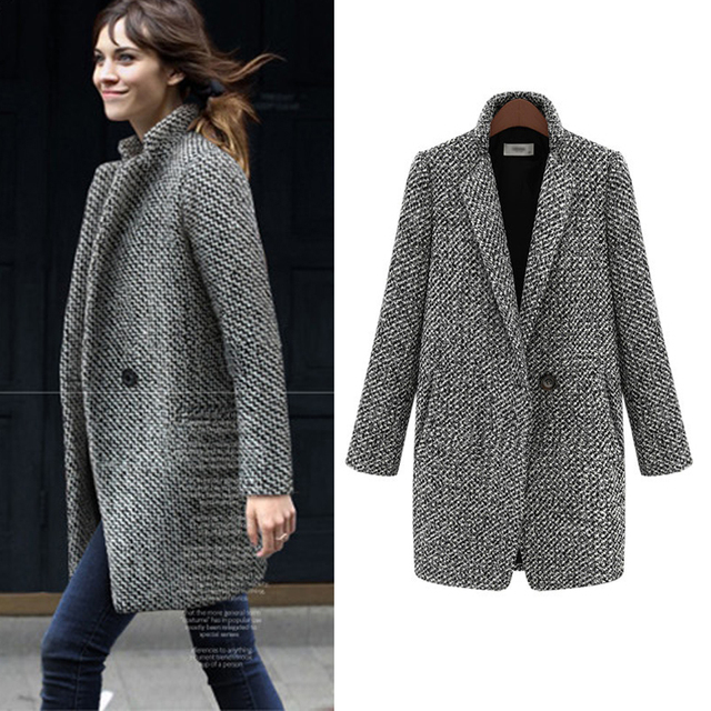Winter Autumn Female Woolen Overcoat Women Thick Wool Coat Jacket ...