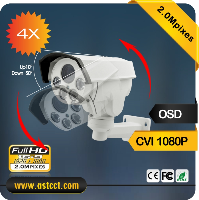 4X Zoom Auto Iris CVI Bullet PTZ Camera Analog HD CVI 1080P Output IR Night Vision Pan Tilt Zoom Security Camera hd 1080p pan