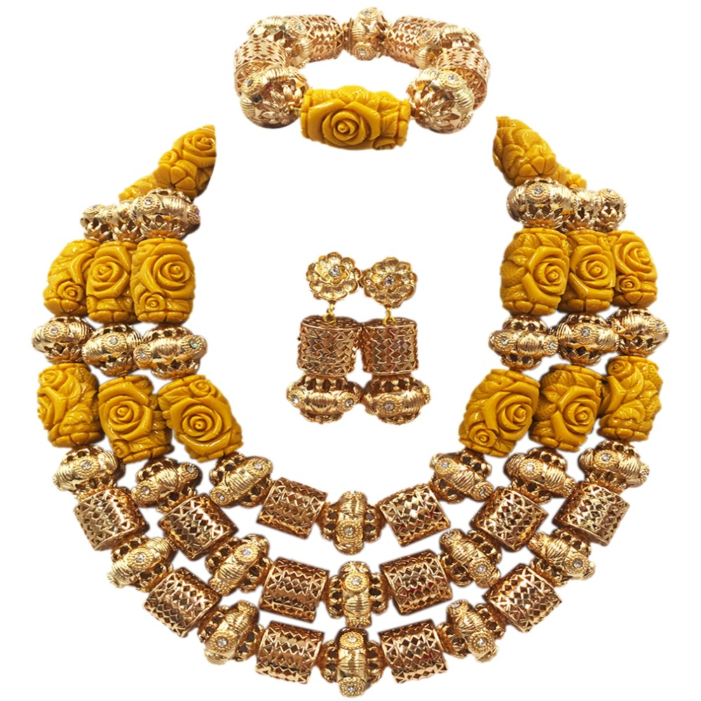 Artificial Coral Jewelry Sets for Women Yellow and Gold Nigerian Wedding Gift Coral Bead Necklace Earrings Set for Brides ACB-33 for ford focus 3 2012 2013 2014 2015 car android unit 1 din dvd radio stereo audio multimedia video music player gps navigation