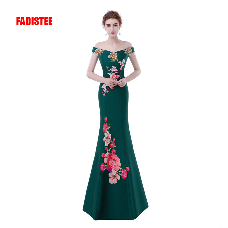 FADISTEE New arrival Gorgeous style   dress     evening     dresses   Vestido de Festa mermaid long gown prom lace-up appliques   dress