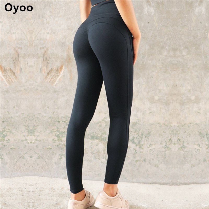b9a0842fc Oyoo Solid Booty Up Sports Legging Women s Compression Thigts M Line Butt  Lift Workout Leggings Hip Push Up Stretch Yoga Pants -in Yoga Pants from  Sports ...