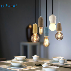 Image 4 - Artpad Industrial Retro Cement Pendant Light Kitchen Bathroom Dining Room Aisle LED Concrete Pendant Lamp E27 Edison Base Holder