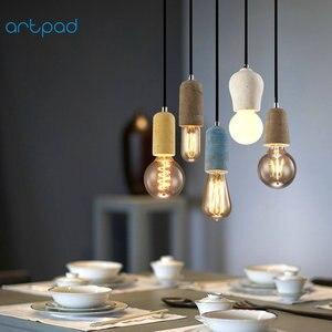 Image 4 - Artpad الصناعية الرجعية مصباح ذو قلادة أسمنتية المطبخ الحمام غرفة الطعام الممر LED ملموسة قلادة مصباح E27 اديسون قاعدة حامل
