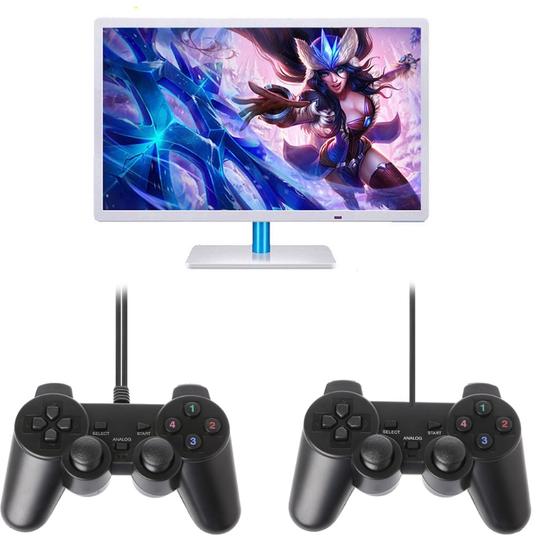 Single Vibration Dual <font><b>Joystick</b></font> Gamepad Wired USB Game Controller For PC <font><b>Laptop</b></font> image