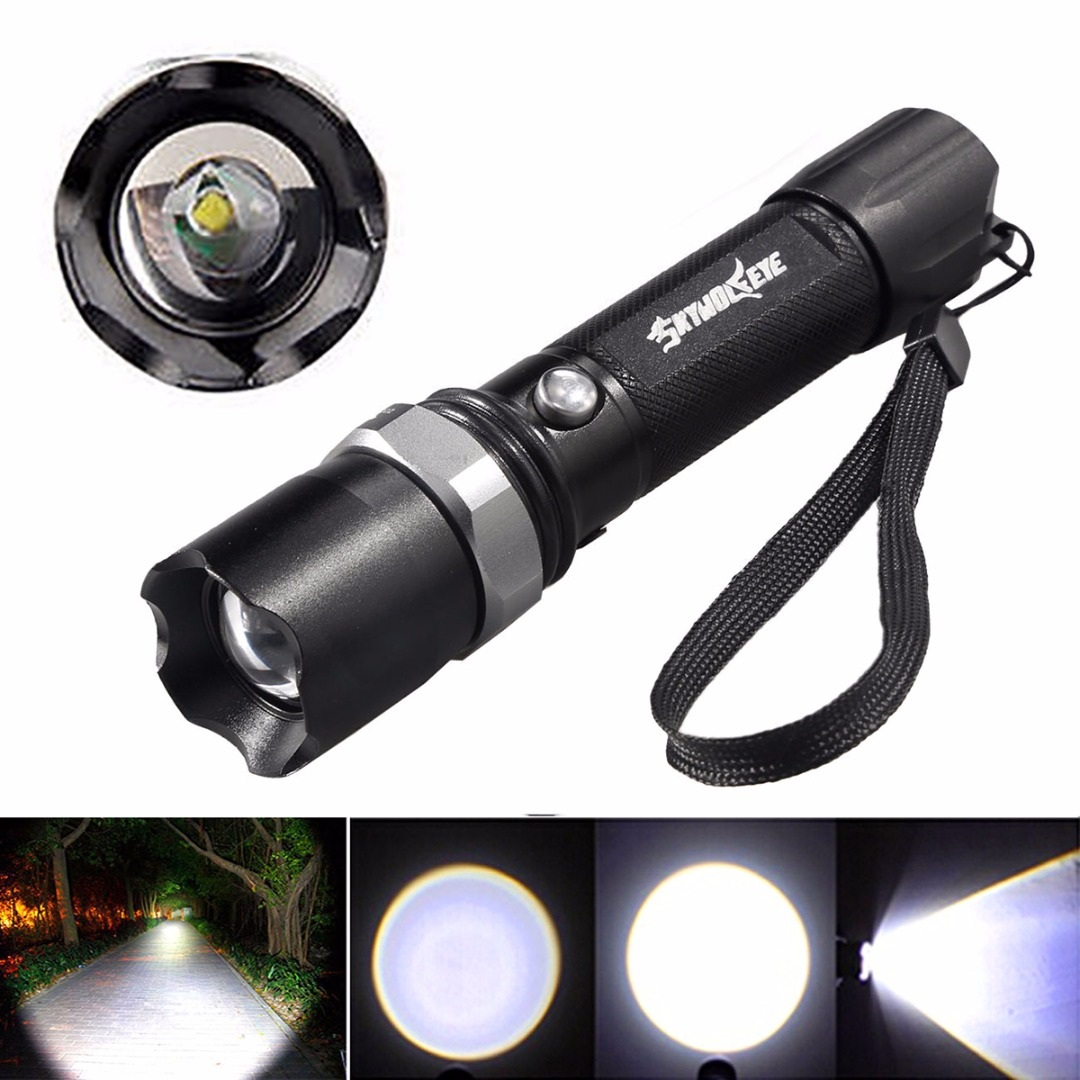 Portable Black 10000 Lumens XML-T6 LED Flashlight Torch Lamp 3 Modes High - Medium - Low Light For 18650 Battery useful convenient 3 models high low sos rotating focus led flashlight torch skid proof light lamp