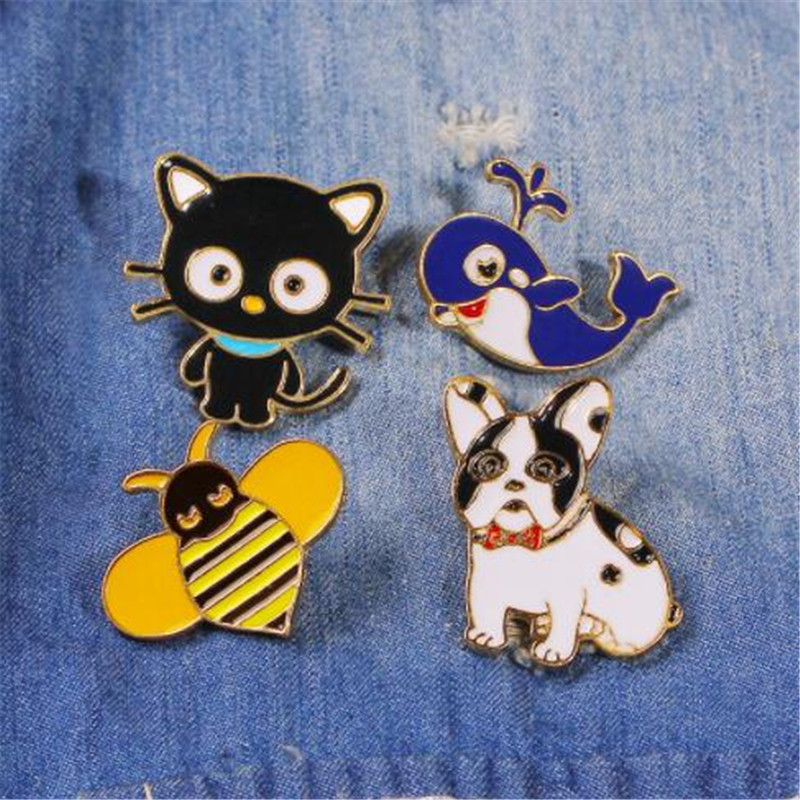 WKOUD Cartoon Enamel Animal Pins Cat Dog <font><b>Whale</b></font> Bee Brooches For Women Fashion Brooch Lapel Pin Clothes Denim Bag Badge Jewelry image