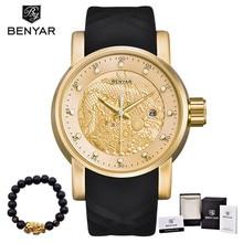 BENYAR Luxury Brand Watches Men Waterproof Silicone Strap Fashion Quartz simple Watch Chinese Dragon Calendar Relogio Masculino