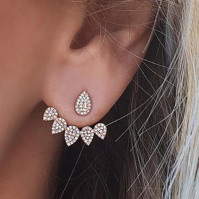 1pair Crystal Gold Silver Ear Cuff Clip Leaf Stud Earrings For Women Jacket Piercing Jewelry