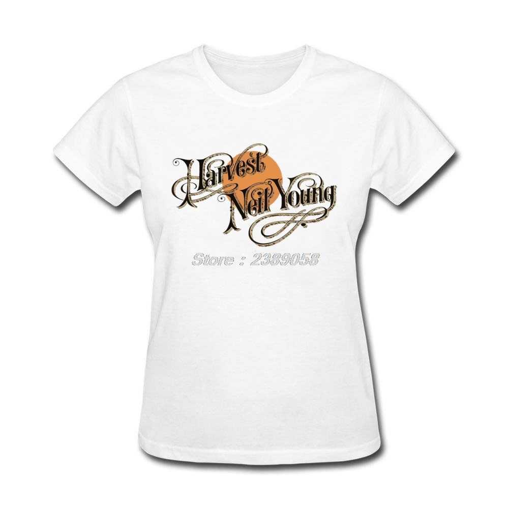Vendita calda Musica Rock Vestiti Su Misura Neil Young T Shirt Unico Girocollo Manica Corta Delle Donne Camicia