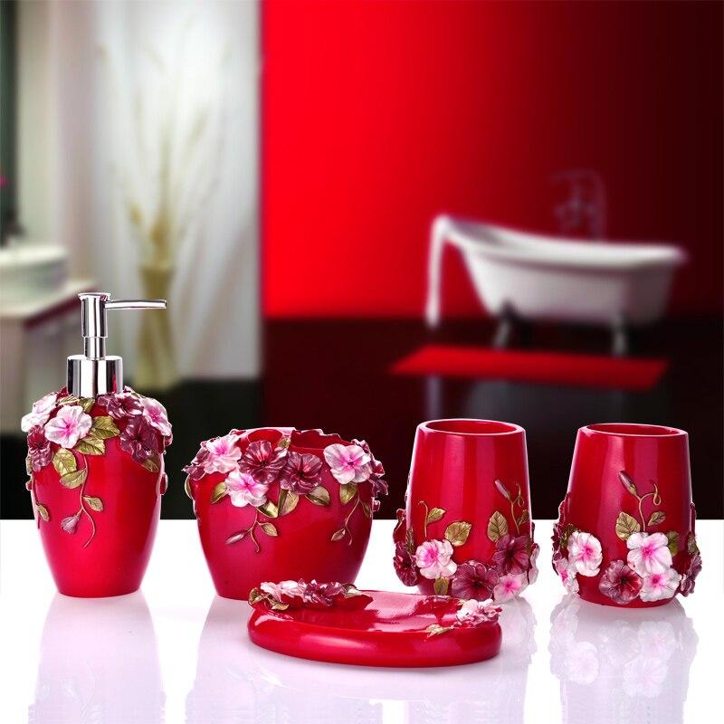 2016 rushed toothbrush holder banheiro bathroom set european toiletries five piece tooth cup wedding suite housewarming - Magenta Bathroom 2016