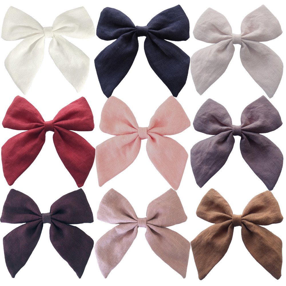 Top quality!Fabric Bows Hair bow Hair Clips Sailor Bow Clips Cotton Fabric bow Hairgrips Girls Women Hair Accessories   Headwear