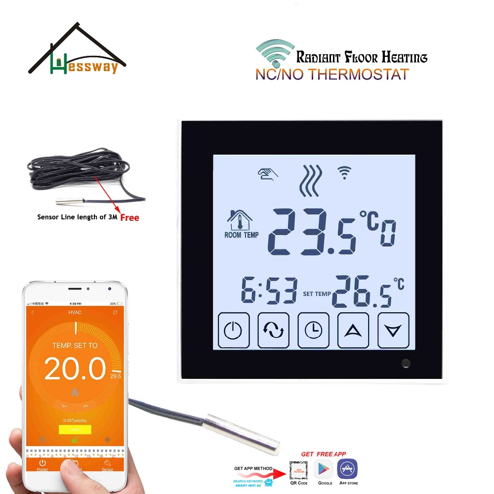 Interactive Voice Response NC/NO Electric Actuator Radiator Wifi Thermostat Sensor For 3A Weekly Programmable LCD Touch Screen
