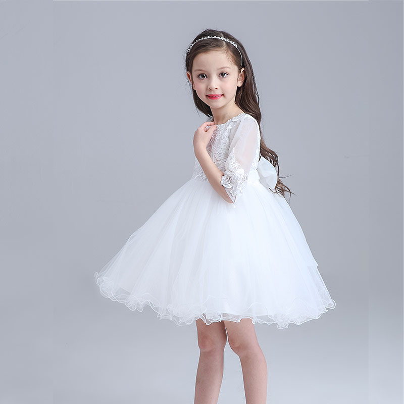 2017 summer princess kids wedding dress girl white three quarter 2017 summer princess kids wedding dress girl white three quarter flower girl party dress toddler infant children clothes in dresses from mother kids on junglespirit Images