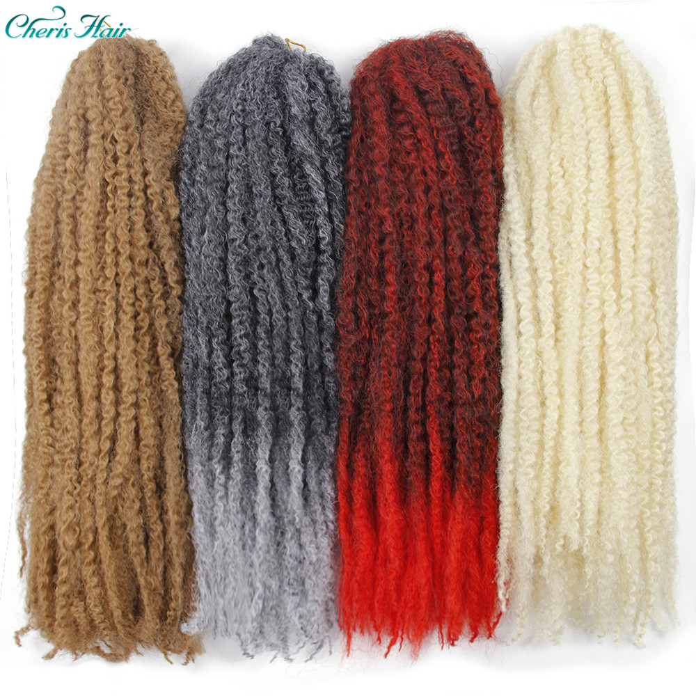 Synthetic Marley Braids Curly Afro Soft Hair Braids For Kid Red Grey Brown Golden Crochet Braiding Hair Extension