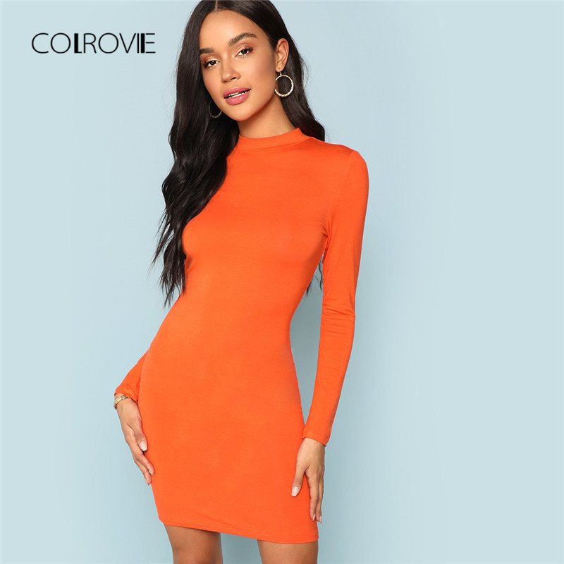 COLROVIE Orange Mock Neck Form Fitting Sexy Bodycon Dress 2018 Autumn Solid  Mini Party Dress Long Sleeve Elegant Dresses -in Dresses from Women s  Clothing ... 01a132c80f1b