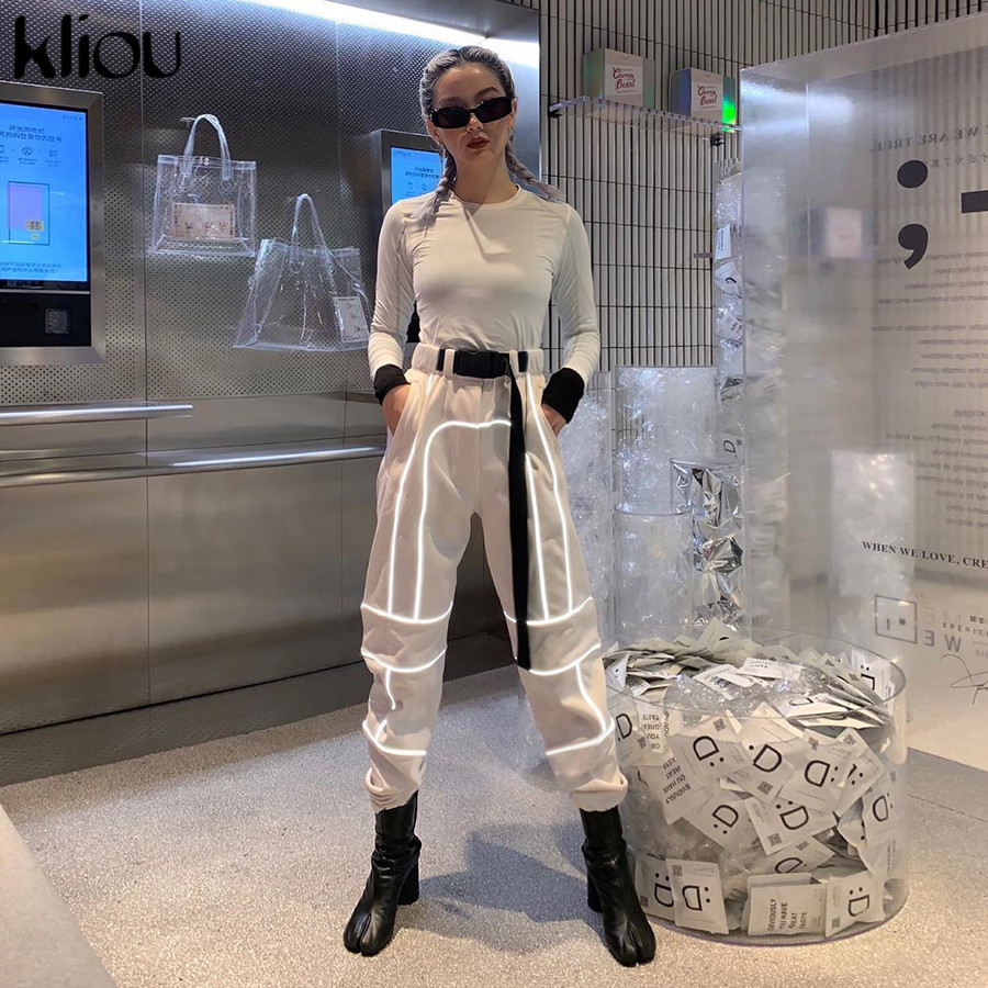 HTB1k0.WadjvK1RjSspiq6AEqXXay - Kliou women fashion street Reflective patchwork cargo pants 2019 new arrival zipper fly with sashes pockets knitted trousers